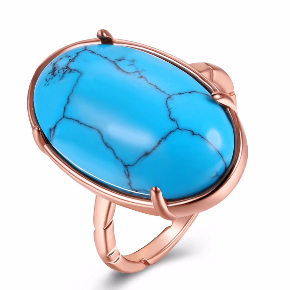 DK Turquoise Ring High Fashion Ring Dance Popular Ring Antique Gold Color For Women Working Retro Turquoise Encrusted Ring