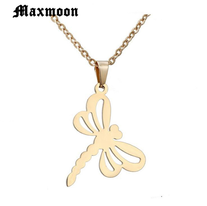Maxmoon  Bijoux Femme Rose Gold Kettingen Voor Vrouwen Fashion Jewelry Handmade Stainless Steel Dragonfly Charm Necklaces