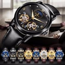 Япония автоматические часы движение полые механические часы для мужчин Водонепроницаемый Лидирующий бренд JSDUN роскошные кожаные мужские часы Водонепроницаемый
