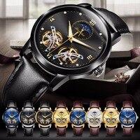 Japan Automatic watch movement Hollow Mechanical watches for men waterproof top brand JSDUN Luxury men watch Leather Waterproof