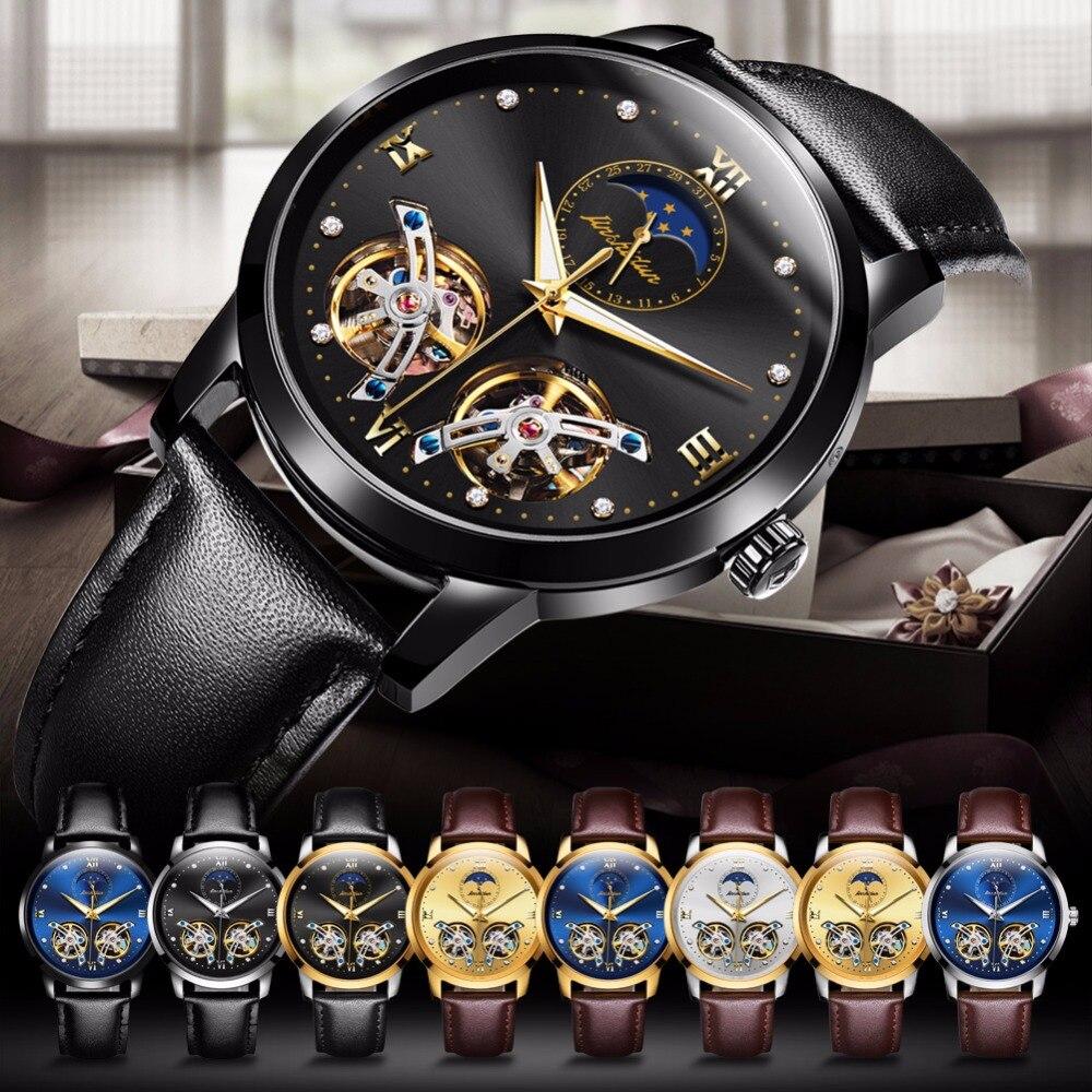 Japon mouvement de montre Automatique Creux montres Mécaniques pour hommes étanche top marque JSDUN De Luxe hommes montre En Cuir Imperméable À L'eau