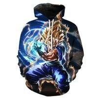 6XL Anime Dragon Ball Z DBZ Pocket Hooded Sweatshirts 3D Super Saiyan Hero Vegeta Hoodies Pullovers