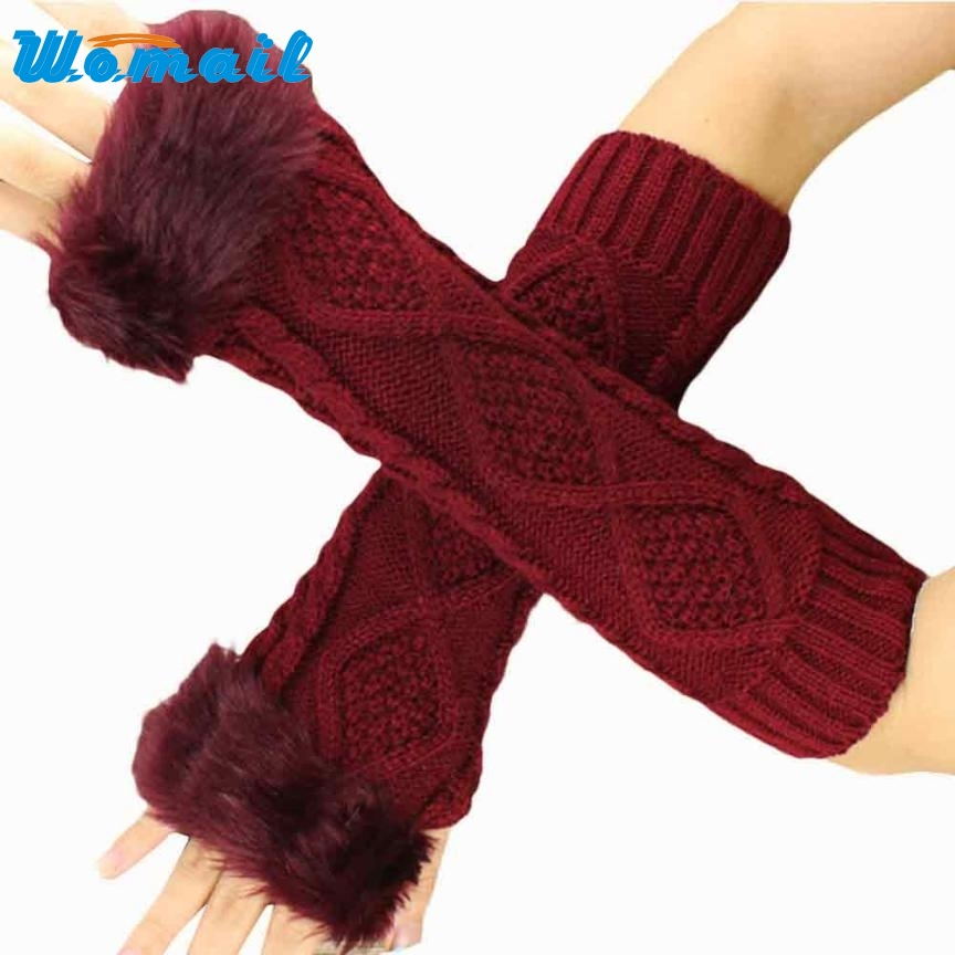 2017 # Women Fashion Knitted Arm Sleeve Fingerless Winter Gloves Soft Warm Mitten