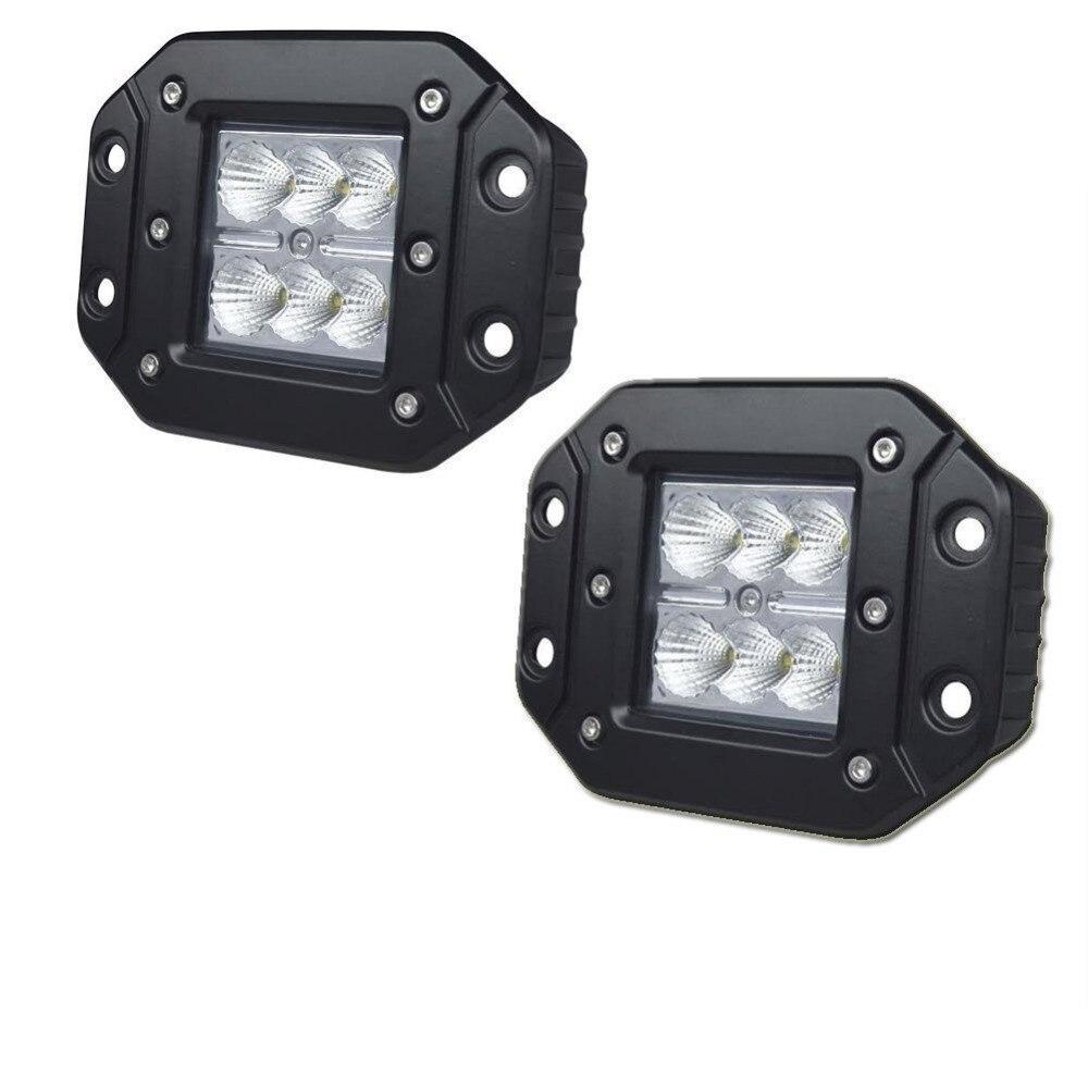 HOT 18W FLUSH MOUNT LED WORK LIGHT 12V 24V Rear Fog Lamp 4X4