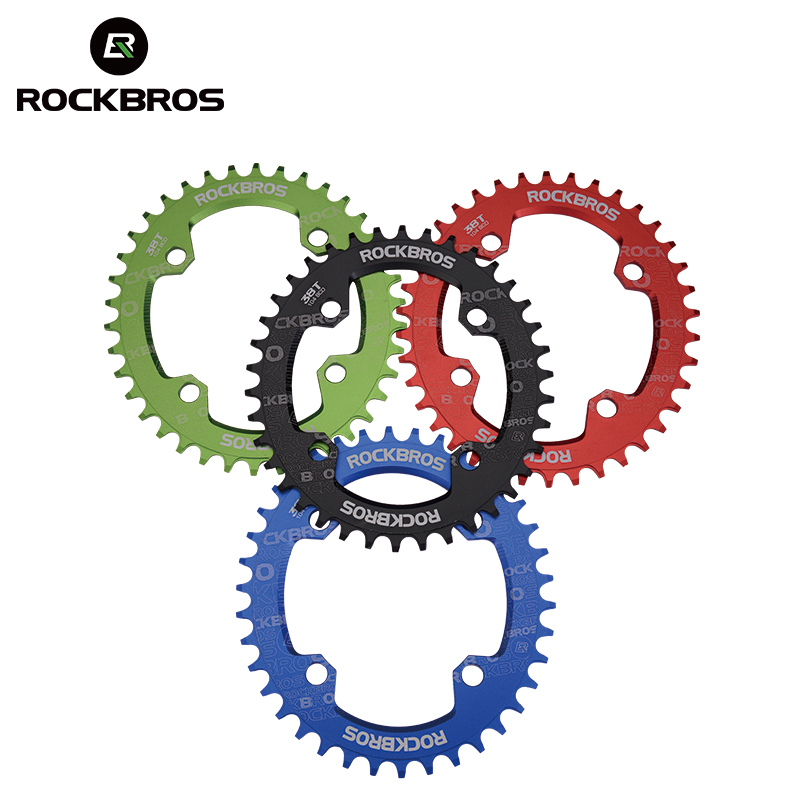 ROCKBROS Oval Round Bicycle Crank & Chainwheel 104BCD Wide Narrow Chainring 32T/34T/36T/38T Crankset MTB Bike Bicycle Parts
