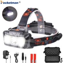 Powerful LED Headlamp T6 COB LED Headlight Waterproof Head Light USB Head Head Lamp Lanterna with 4 Modes with 18650 Battery