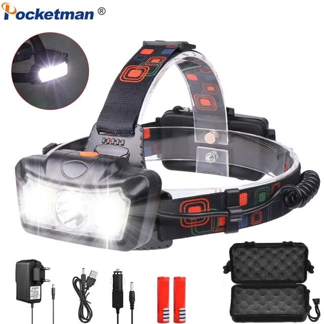 Мощный светодиодный налобный фонарь T6 COB, светодиодный головной фонарь, водонепроницаемый Головной фонарь с USB, Головной фонарь с 4 режимами и батареей 18650