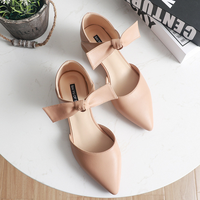 ankle leather bow-knot shoes woman low heel cut out pumps 5