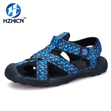 Fashion Sandals Men 2016 Vintage Rome Style Summer Beach Breathable Casual Solid Men Sandals 3 Colors Size 39-44 HZHICN