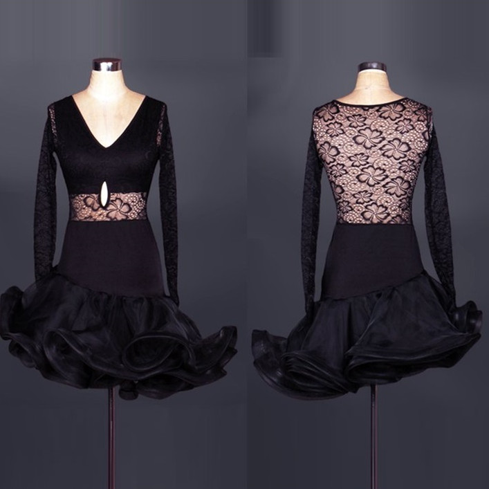 Flower fish tail Latin Dance costumes Modern Dance Dresses lace Splicing red/black chacha/Tango/samba/Rumba Competition Dress