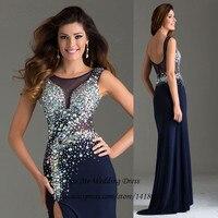 Vestidos de Noche длинное вечернее платье 2015 новое поступление Формальные платья для выпускного вечера темно синего цвета в стиле Русалочки без сп