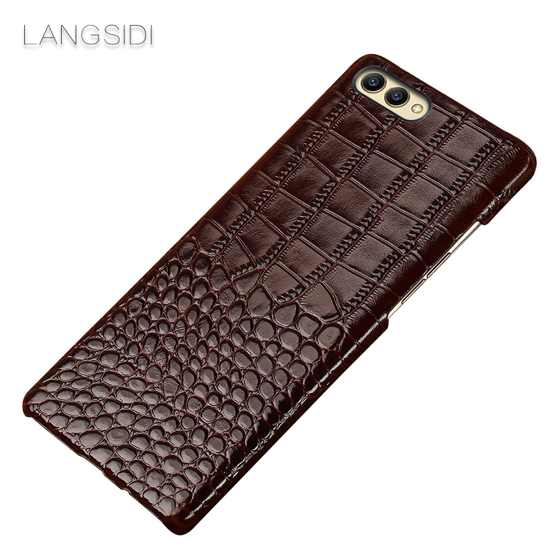 wangcangli For Huawei Honor V10 phone case Luxury handmade genuine crocodile leather back cover in Half wrapped Cases from Cellphones Telecommunications