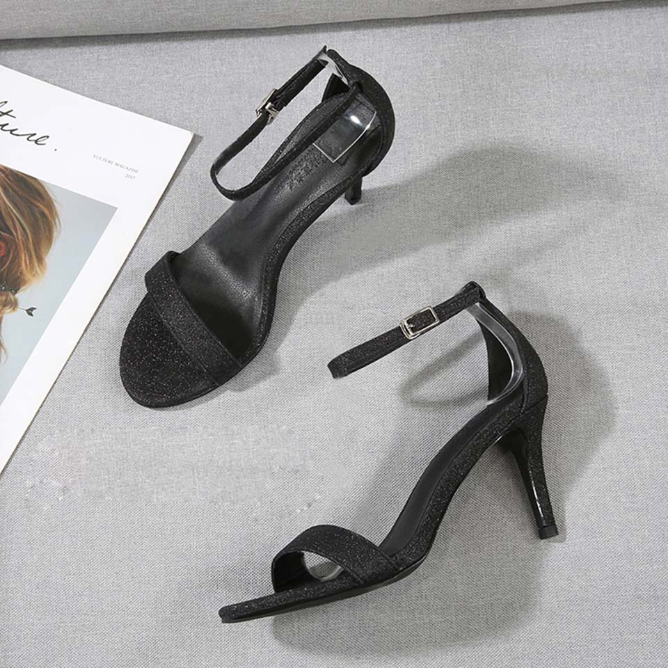 Schwarz Ankle Frauen Schuhe Jawakye black Toe Sexy Classic Sandalen 10 Strap Cm grey Heel silver High Bling Heel Sommer 100mm Mujer Heels One Gray Black Peep 7 Heel O0wZrqX0