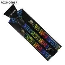 FOXMOTHER Multicolor Zebra Geometric Abstract Printed Suspenders Braces Mens Womens Bretellen
