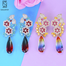 Trendy Clear Waterdrop Crystal Pendant Earrings Exiquisite Cubic Zirconia Flower Stud Earrings For Women Party Occasion Jewelry 100pcs syringe dispensing needles with luer lock 14g 15g 16g 18g 20g 21g 22g 23g 25g 27g 0 5 inch length blunt tip