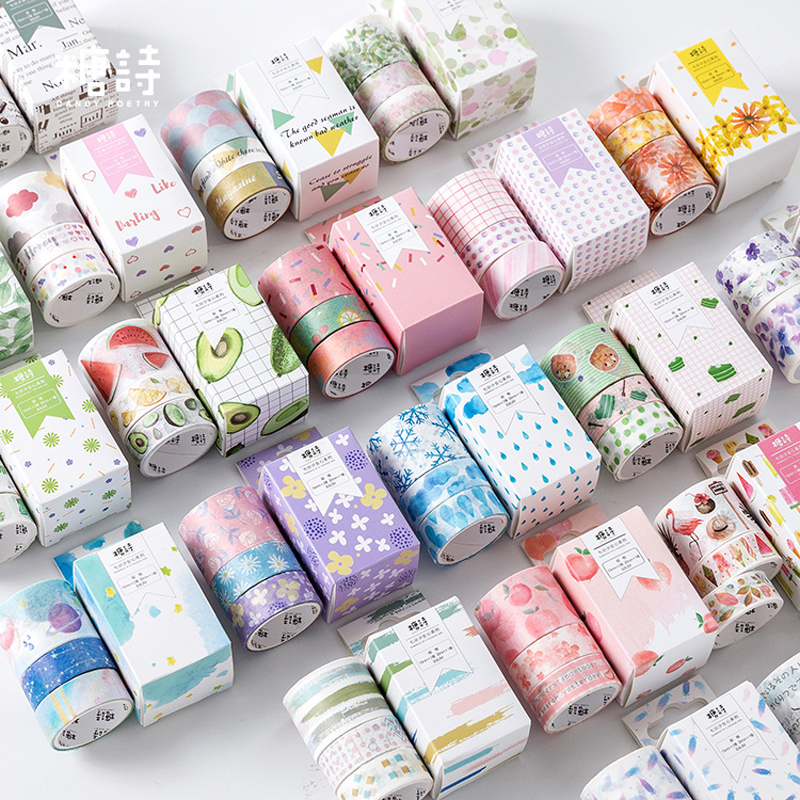 3Pcs Flower Fruit Clouds Planet Washi Tape Paper DIY Decorative Adhesive Tape Japanese Stationery Kawaii Masking Tapes Supplies