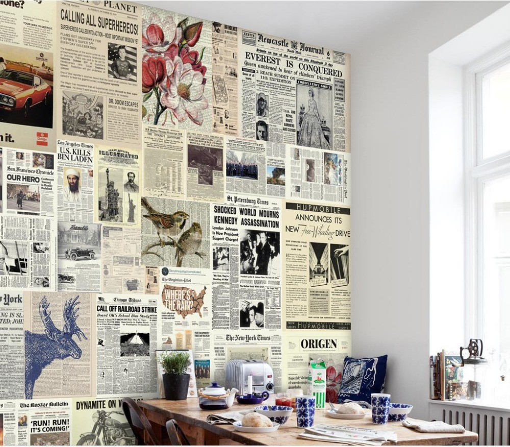 Journal Foto And Wallpaper Building: Popular Newspaper Print Wallpaper-Buy Cheap Newspaper