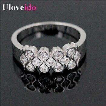 cb0cdcf4df6d Uloveido anillo de las mujeres con piedras plateadas plata anillos Vintage  anillo de compromiso joyería Día de San Valentín regalos para las mujeres  y020