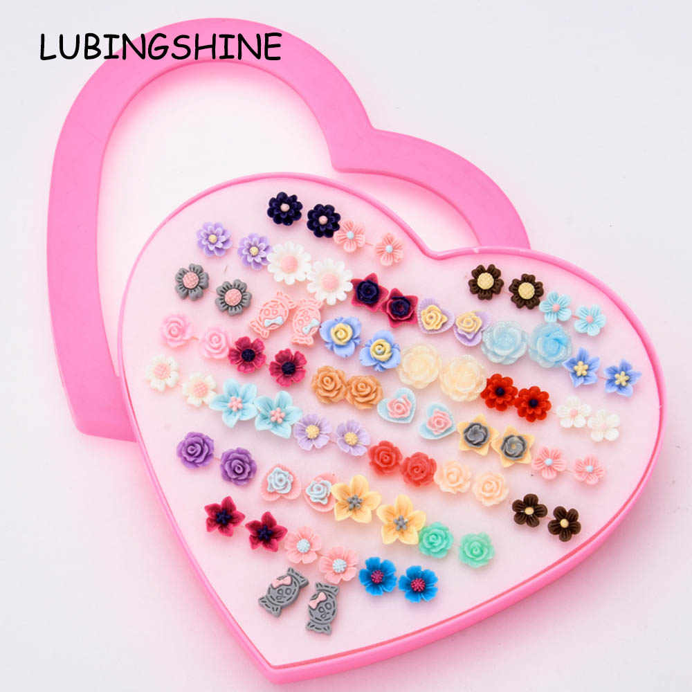 LUBINGSHINE Trendy Women Multi 36 pairs/lot Small Stud Earrings Child Girls Resin Flower Earring Jewelry Gift With Heart Box