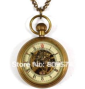 Saatler'ten Cep Saatleri'de Toptan kız kadın lady cep saati kaliteli bronz moda bağbozumu retro klasik mekanik steampunk kolye hediye'da  Grup 1