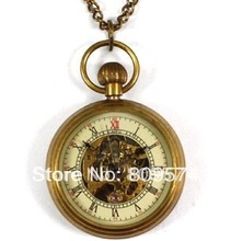 wholesale girl woman lady pocket watch good quality bronze fashion vintage retro classic mechanical steampunk necklace gift