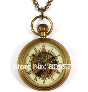 wholesale girl woman lady pocket watch good quality bronze fashion vintage retro classic mechanical steampunk necklace gift-in Pocket & Fob Watches from Watches    1
