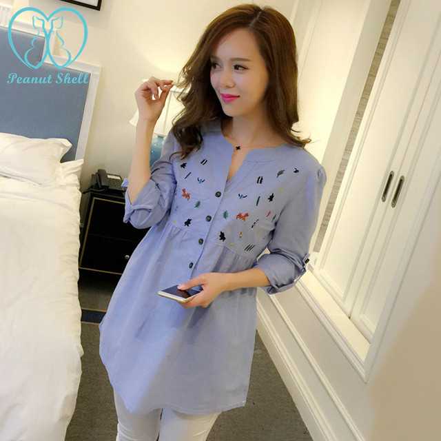6002# Waist Pleated Embroidery Cotton Maternity Shirt Summer & Spring Blouse Tops Clothes for Pregnant Women Pregnancy Clothing