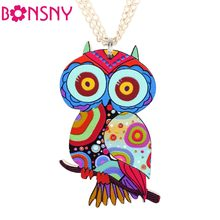 Bonsny Owl Necklace Acrylic Pattern Chain Animal Bird Pendant Fashion Jewelry 2015 News Accessories Famous Brand Unique Design(China)