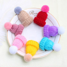 Lovely Girls Mini Hat Brooch Knitted Hairball Pins Women Sweater Coat Collar Lapel Pin Badge Ladies Brooches Jewelry Accessories(China)