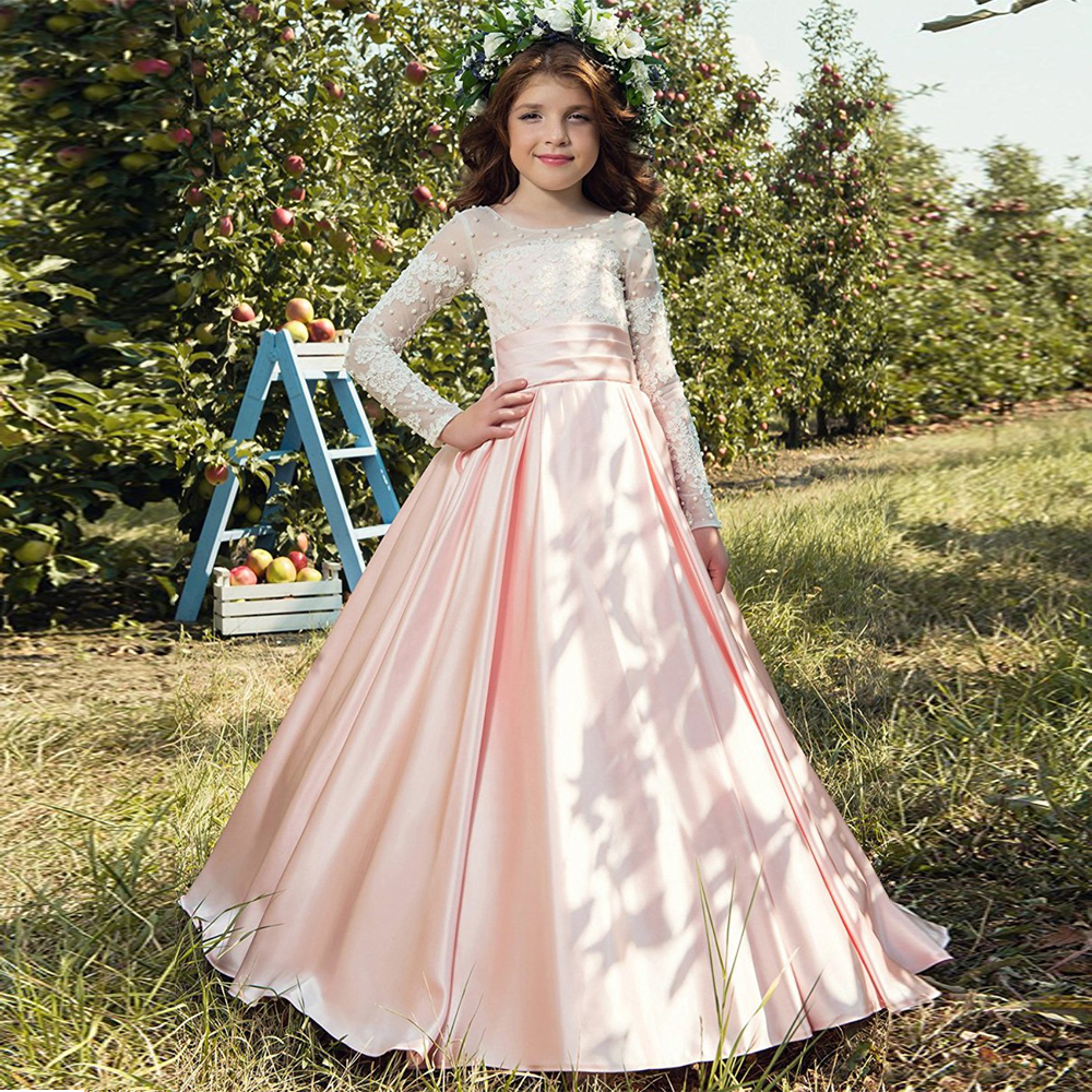New Arrival Custom Made Flower Girl Dress For Wedding Lace Pearls Long Sleeve Ball Gown Girl's Holy First Communion Dress luxury bling bling flower girl dress for wedding beaded lace crystals ball gown girls first communion dress custom size