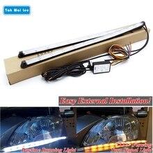 Tak Wai Lee 2X 4 Changes External Flexible LED Daytime Running Strip Light Crystal Eyes Flow Turn Signal Car Day Lamp Styling цена