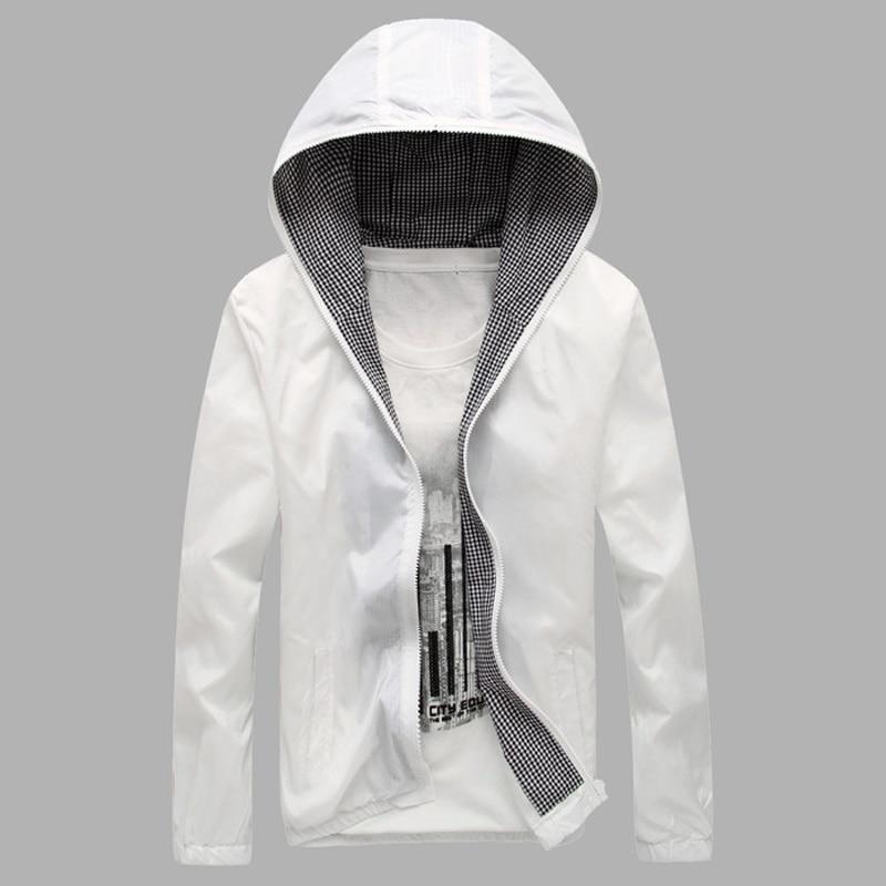 2019 Vyriškos striukės ir paltai Mada Chaqueta Hombre Pavasario vasaros Naujos vyrų šviesios šviesos švarkas Saulės drabužiai Blokuoti plonas striukes