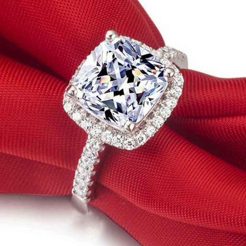 Luxurious CZ Rings Female Ring Bijoux Newest White 4 Prong Zirconia Wedding Engagement Rings For Women
