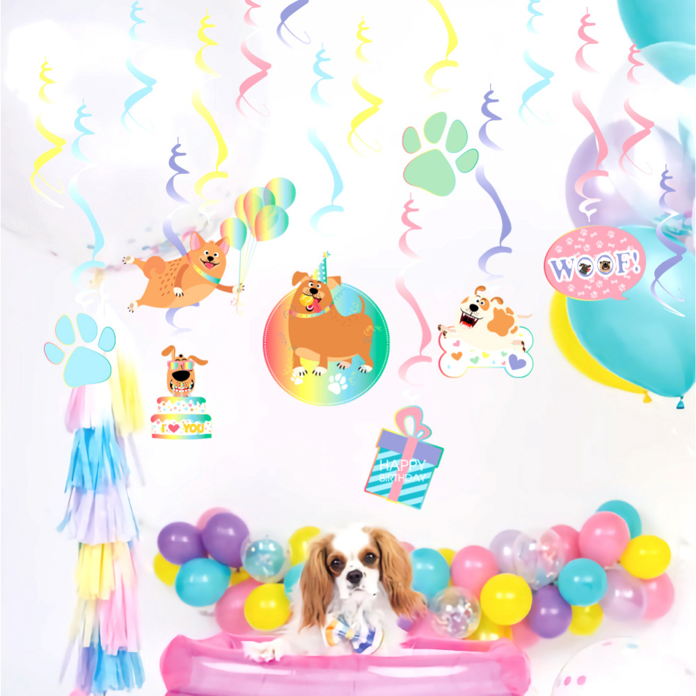16pcs Puppy Themed Birthday Party Swirls Hanging Decoration Happy Birthday Ceiling Dangling Whirls Dog Woof Pups Pet Pawty Kids in Party DIY Decorations from Home Garden