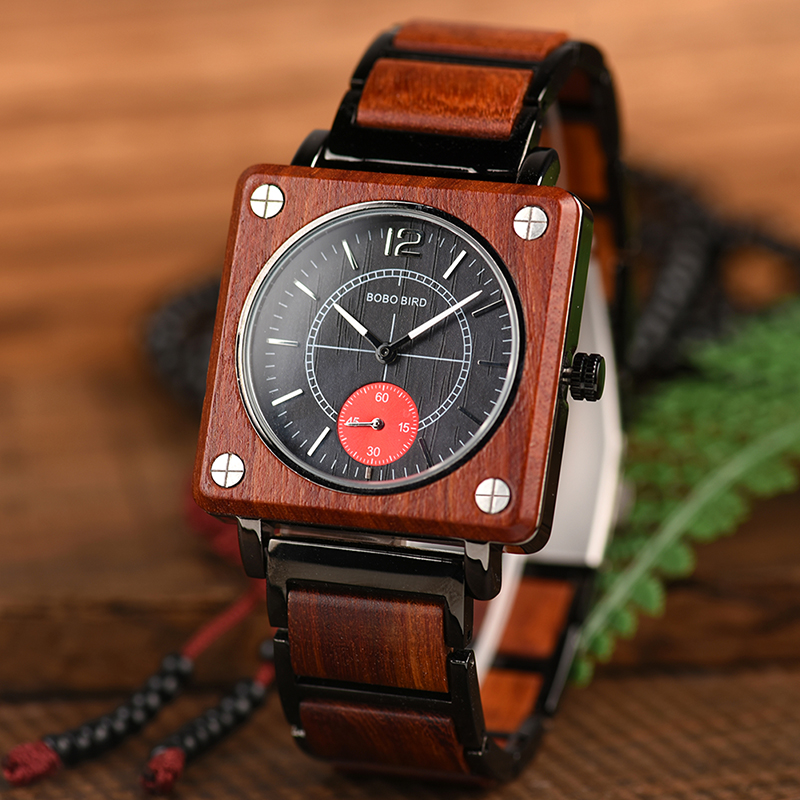 Image 2 - marque de luxe BOBO BIRD Wooden Men Square Watches Luxury Quartz Personalized Wood Watch Gifts for Men relojes de marca famosa-in Quartz Watches from Watches