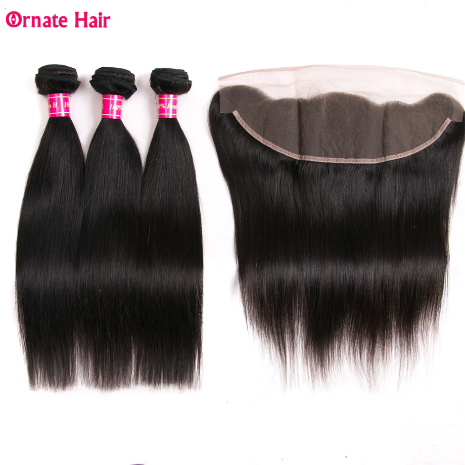 Malaysian Straight Hair 13 4 Human Hair Bundles With Frontal 12 28 Inch Ornate Non Remy