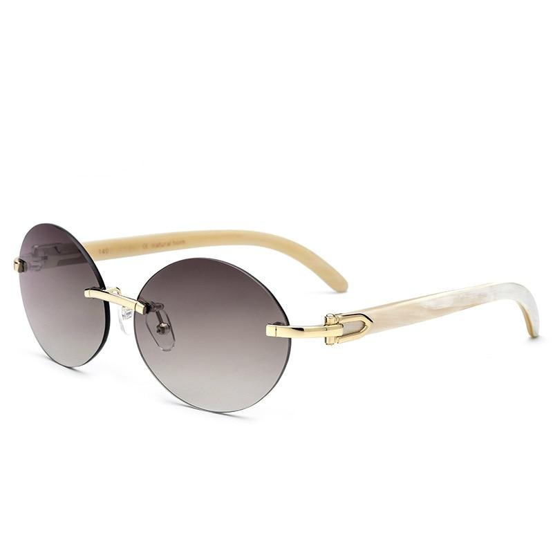 Sonnenbrille De Natürlichen Gray Polarisierte Edel Sol brown Oculos Schwarz Weiß Vintage Runde Horn Viodream 1Hwvqw