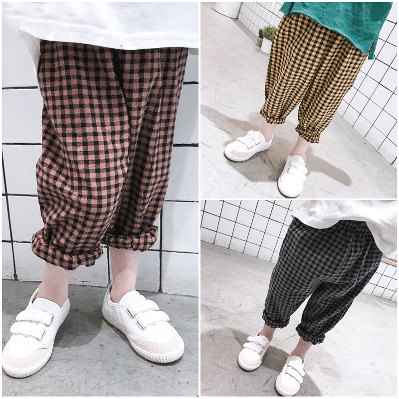 3f388ab45 Detail Feedback Questions about Spring summer new style boys and girls  Korean style plaid pants casual kids children wide leg pants fashion  trousers 2 6Y on ...