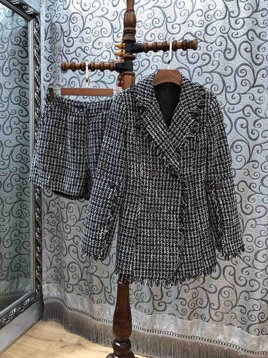 Costume} Double Manches {shorts 1130 Veste Ardoisé Costume Avec Revers Bouton 2018 À Longues Vérifié rangée AfUZCn