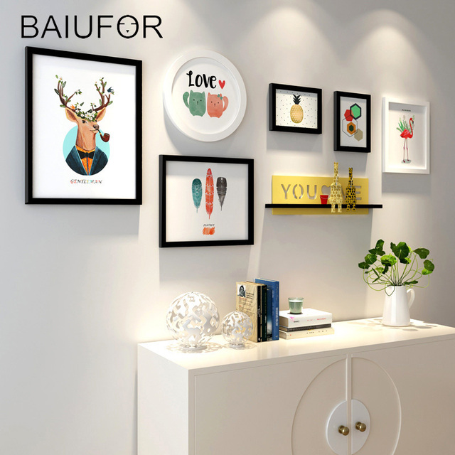 BAIUFOR Decorative Wall Frames Set DIY Wooden Photo Frame for Wall ...