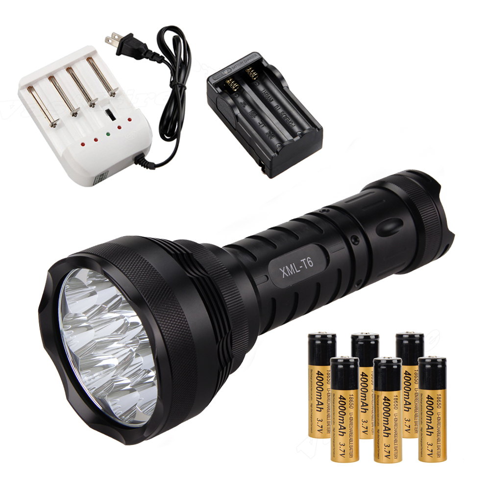 Brightness High Power 15000Lm 12x XM-L T6 LED Flashlight Torch 6x 18650 Light Charger 15000lm 2x xm l t6 led cob rechargeable 18650 headlamp head light torch lamp outdoor bicycle bike cycling accessories oct 11