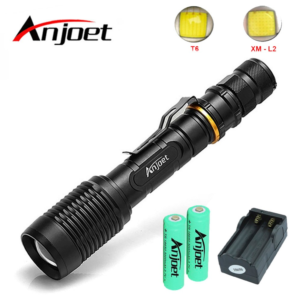 Anjoet Super Bright Hunting Flashlight Waterproof 5000 lumen XM-L2-T6 LED Zoomable Torch Tactical 5 Mode Use 2x18650+Charger super bright tactical 3 modes 18000 lumen 9x xm l l2 led powerful flashlight torch for hiking camping hunting battery charger