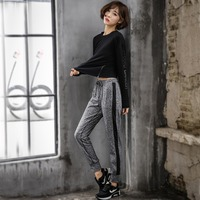 MuLanOu 3PCS Yoga Set Sport Suits Tracksuit For Women Ladies Long Sleeve Shirt Jumper Bra Pants Gym Fitness Running Sportswear