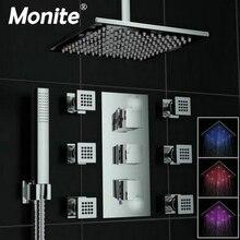 8 дюймов LED Насадки для душа настенные площади Стиль латунь водопад набор для душа осадков Ванная комната набор для душа ручной душ смеситель