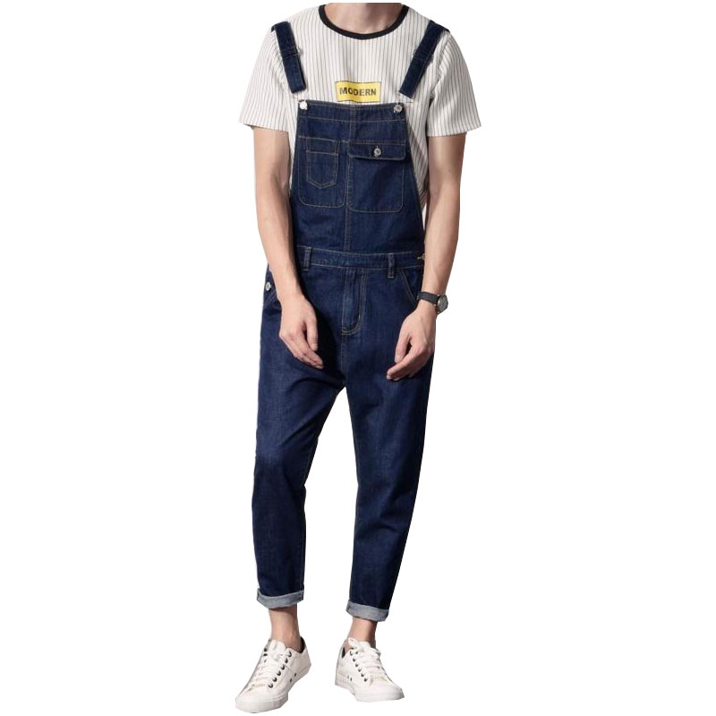 Spring And Autumn Korean Denim Overalls Men's Japanese Tooling Jumpsuit Youth Slim Couple Sling Denim Trousers Size S-4xl 5xl