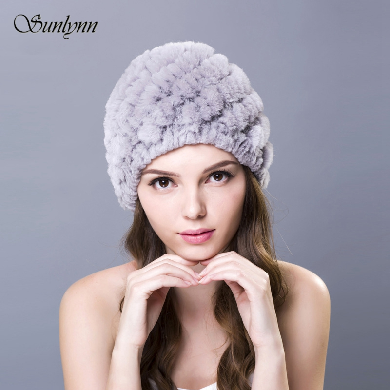 Women's Fur Hats Genuine Real Knitted Rex Rabbit  Handmade Lady Autumn Winter Warm Caps Female Beanies Headgear Ear protect Hat
