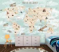 Custom 3d tapete cartoon welt karte hintergrund wand wohnzimmer schlafzimmer kinder zimmer dekoration wandbild papier peint tapete