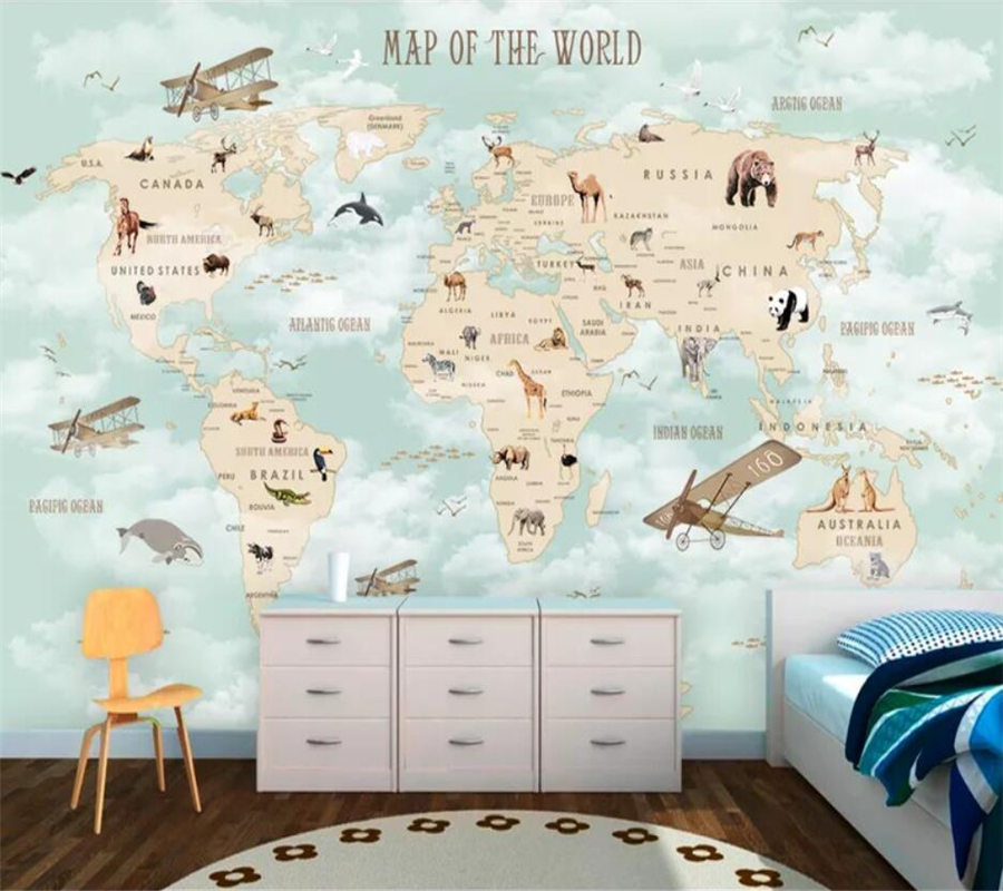 Custom 3d Wallpaper Cartoon World Map Background Wall Living Room Bedroom Children Room Decoration Mural Papier Peint Wallpaper
