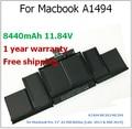 "8440 mAh batería del ordenador portátil para Macbook A1494 ME293 ME294 para Macbook Pro 15 "" A1398 Retina para apple"