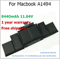 "8440mAh Laptop Battery for Macbook A1494 ME293 ME294 for Macbook Pro 15"" A1398 Retina for apple"